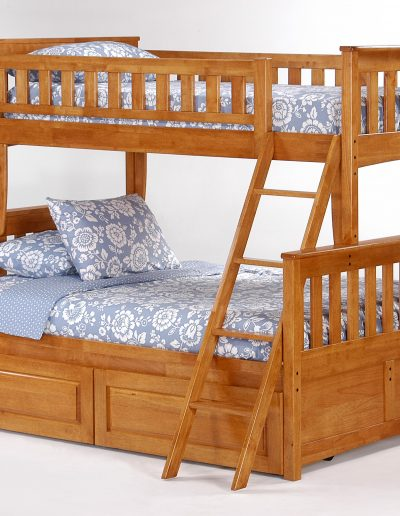 Ginger Twin Full Bunk Medium Oak w Cinnamon Drawers closed