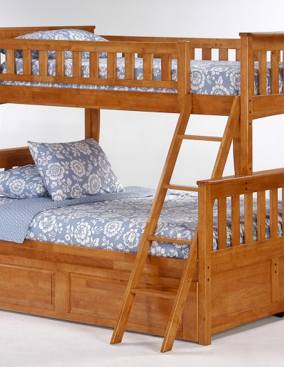 Ginger Twin Full Bunk Medium Oak w Cinnamon Trundle Bed closed