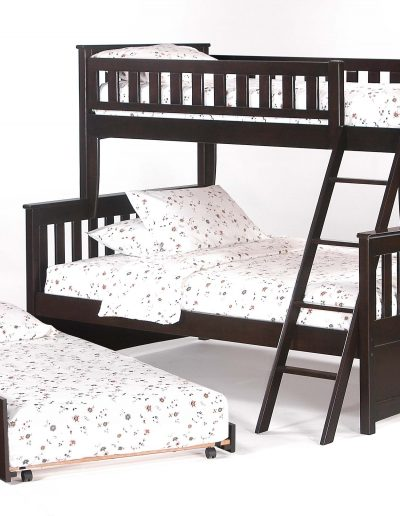 Ginger Twin Full Bunk Medium Oak w Cinnamon Trundle Bed open (2)