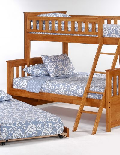 Ginger Twin Full Bunk Medium Oak w Cinnamon Trundle Bed open