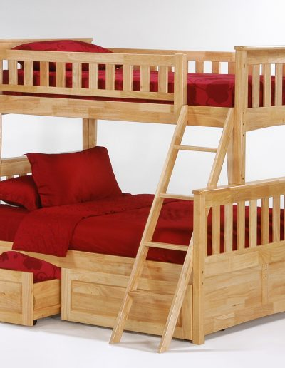 Ginger Twin Full Bunk Natural w Cinnamon Drawer open