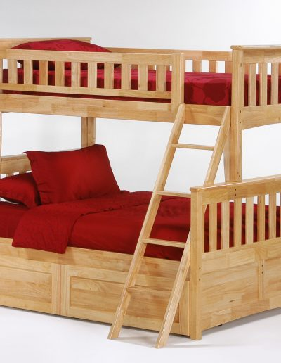 Ginger Twin Full Bunk Natural w Cinnamon Drawers closed