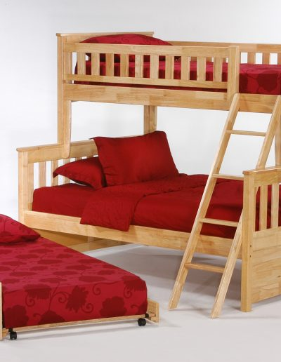 Ginger Twin Full Bunk Natural w Cinnamon Trundle Bed open