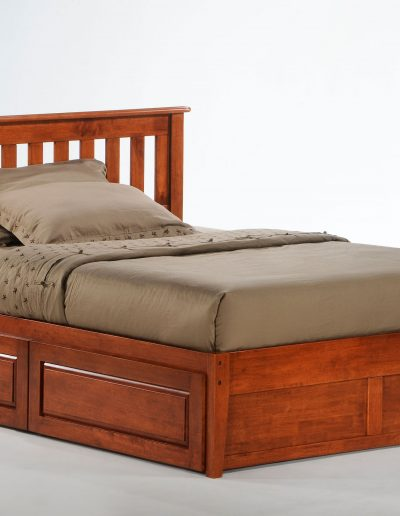 Rosemary Bed Full Cherry w Cinnamon Storage Drawers closed