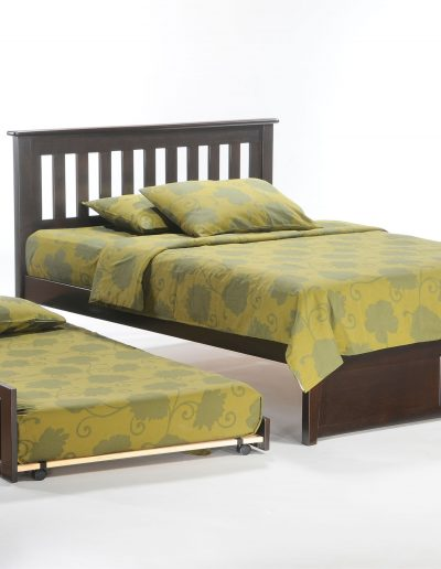 Rosemary Bed Full Dark Chocolate w Trundle opened