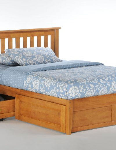 Rosemary Bed Full Medium Oak w Cinnamon Storage Drawer opened