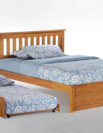 Rosemary Bed Full Medium Oak w Cinnamon Trundle Bed opened