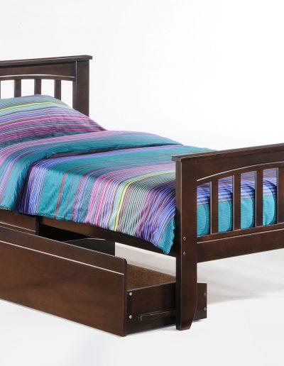 Sasparilla Bed Twin Dark Chocolate w Drawer opened