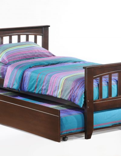 Sasparilla Bed Twin Dark Chocolate w Trundle opened
