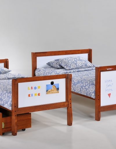 Scribbles Split Twin Full Beds Cherry w Drawer opened