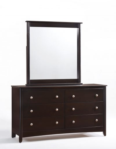 Secrets 6 Drawer Dresser & Mirror Dark Chocolate