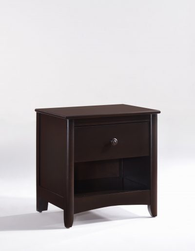 Secrets Nightstand Dark Chocolate Wood Knobs