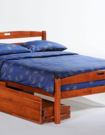Sesame Bed Full Cherry w Drawer opened
