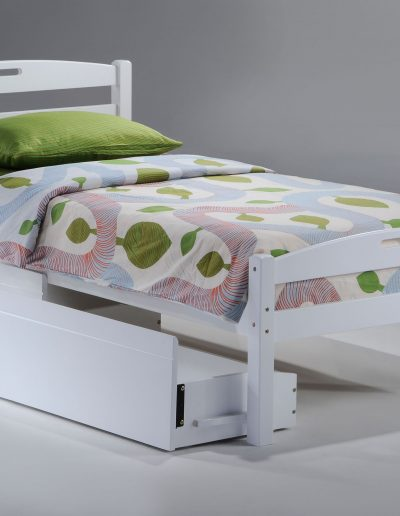 Sesame Bed Twin White w Drawer opened