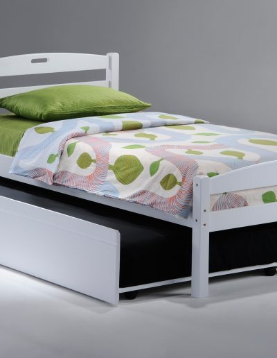 Sesame Bed Twin White w Trundle opened