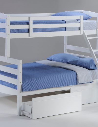 Sesame Twin Full Bunk White w Drawer opened