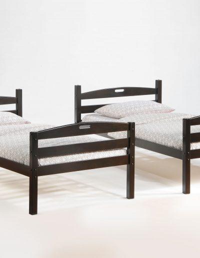 Sesame Twin Twin Bunk Dark Chocolate w 2 Twin Bed