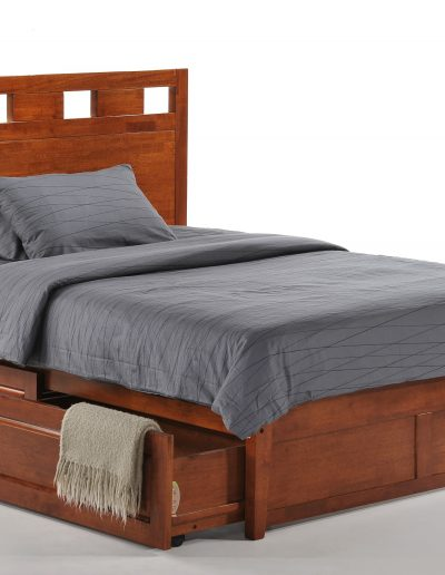 Tamarind Bed Full Cherry K-Series w Cinnamon Storage Drawers opened