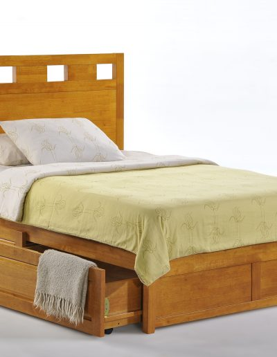 Tamarind Bed Full Medium Oak K-Series w Cinnamon Storage Drawer opened