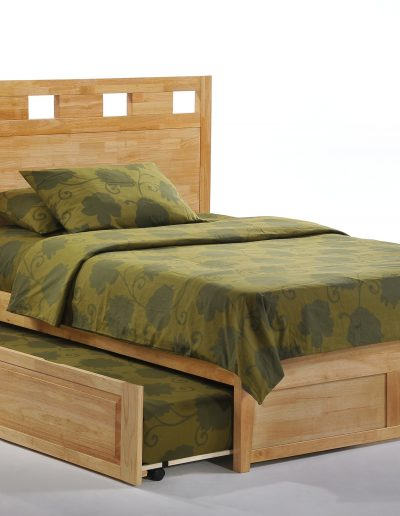 Tamarind Bed Full Natural K-Series w Cinnamon Trundle opened